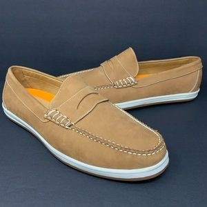 Peter Millar Alta Deck Brown Leather Boat Shoes